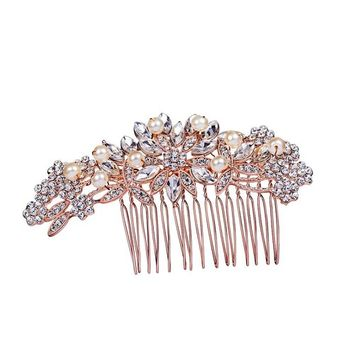 Ammei Rose Gold Side Combs Flower Design with Rhinestones