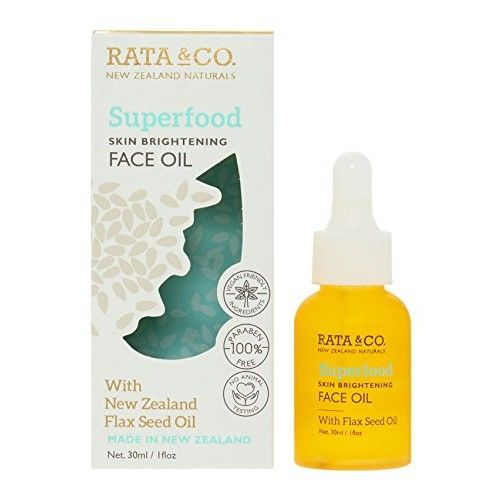 Rata & Co. New Zealand Naturals - Superfood Skin Brightening Face Oil with Flax Seed (Vegan Friendly Ingredients, 100% Paraben Free, No Animal Testing)