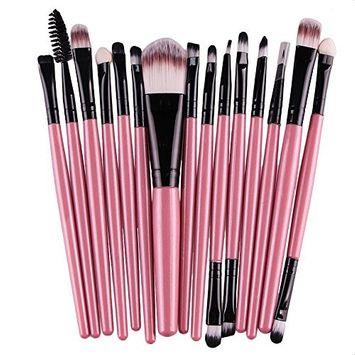 [15 pcs/Set]Doinshop Eye Shadow Foundation Eyebrow Lip Brush Makeup Brushes Sets Kits (pink): Beauty