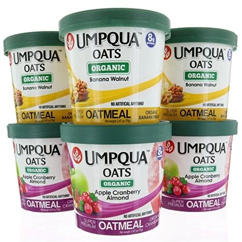 6 pack, Umpqua Oats Organic, Banana Walnut & Apple Cranberry Almond Flavor, Gluten Free, Super Premium Oatmeal 2.47 oz each
