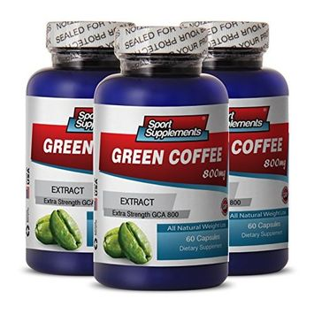 Green Coffee Cleanse - Green Coffee Extract 800mg - Premium Green Coffee Bean Extract for Natural Weight Loss (3 Bottles 180 Capsules)