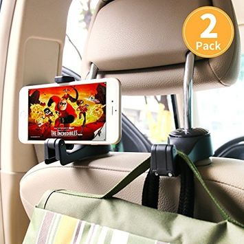 ASANMU Car Headrest Hooks, Vehicle Universal car Back Seat Headrest Hook Hanger with Cellphone Holder for Hanging Bag, Purse, Grocery Headrest Hooks for Car,Car Hooks (Black - 2 Pack)
