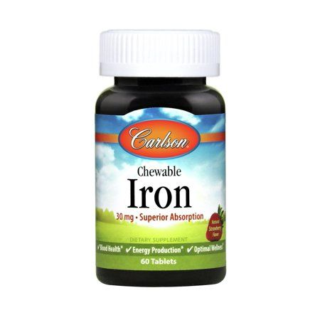 Carlson Chewable Iron, 30 mg, Superior Absorption, Strawberry, 60 Tablets