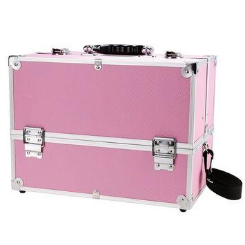 Mini Makeup Train Case with Mirror Portable Aluminum Cosmetic Organizer Box 2 Trays Pink