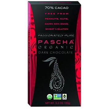 Pascha Organic Chocolate Bar - Dark Chocolate - 70 Percent Cacao - 3.5 oz Bars - Case of 10 - 95%+ Organic - Gluten Free - Dairy Free - Wheat Free - Kosher