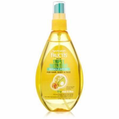 Garnier Fructis Triple Nutrition Miracle Dry Oil for Hair, Face, and Body, 5 Fluid Ounce