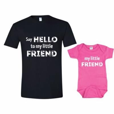 Texas Tees Brand: Dad and Daughter Shirt, Say Hello to My Lil Friend, Mens 2XL Shirt & Pink 3-6mo