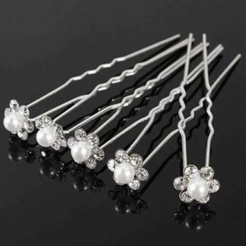 Small Pearl & Rhinestone Flower Hair Pins in 12 Elegant Colors White / 1