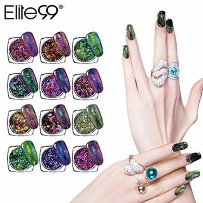Elite99 Chameleon Color-changing Nail Chrome Powder Nail Glitter Powder Manicure Pigment With Sponge Stick (12 Colors)
