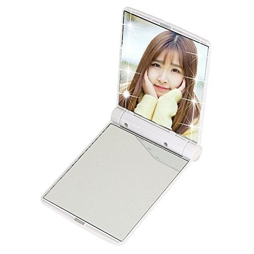 """Folding Compact Travel LED Lights Makeup Mirror, 4.1"""" x 3.1"""" Double Sided Mirror, Cosmetic Portable Compact Pocket Mirror With 8 LED Lights Black for Travel or Outside (White)"""