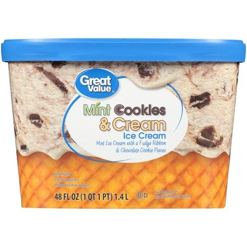 Great Value Mint Cookies & Cream Ice Cream, 48 oz