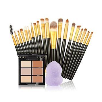 Doinshop Makeup Brushes Set 6-Color Concealer + 20 Makeup Brush + 1 PC Calabash Powder Puff