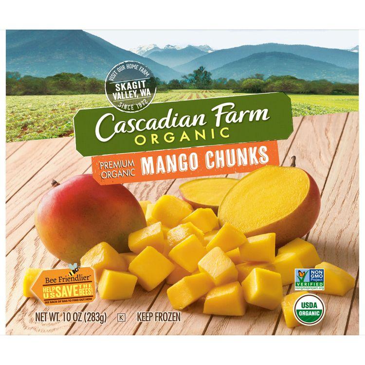 Cascadian Farm Premium Organic Mango Chunks, 10oz Bag (Frozen), Organically Farmed Frozen Fruit, Non-GMO