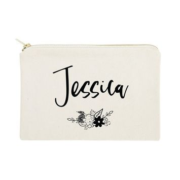 The Cotton & Canvas Co. Personalized Name Floral Cosmetic Bag and Travel Makeup Pouch