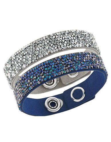 Swarovski Crystal Rock and Blue and Grey Alcantara Bracelet Set - 2