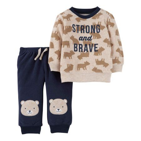Child of Mine by Carter's Newborn Baby Boy Long Sleeve Shirt & Pants 2 pc Outfit Set