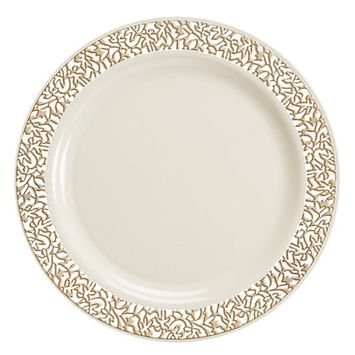Disposable Plastic Plates Premium Quality Ivory and Gold Dinnerware With Golden Lace Rim Excellent for Weddings Baby and Bridal Showers Parties and More Heavy Duty Ten Inches Plate Forty Count