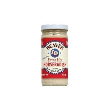 Beaver Brand Extra Hot Horseradish 4 oz glass jar (Pack of 6)