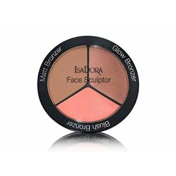 IsaDora Face Sculptor - Bronzer, Blusher, Highlighter in one pack - 18 g / 0.63 Oz. - Fragrance free, Clinically tested (10 Sun Glow)