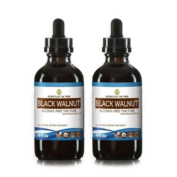 Secrets Of The Tribe Black Walnut Tincture Alcohol-FREE Extract, Organic Black Walnut (Juglans Nigra) Dried Hull 2x4 oz