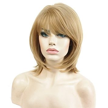 Aimole Short Natural Straight Golden Blonde Wig Heat Resistant Full Synthetic Wigs Women's Hair