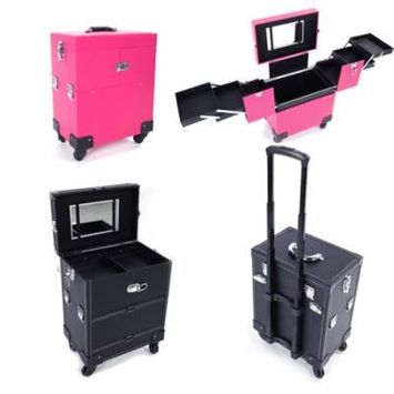 Ktaxon Professional Cosmetic Train Case, Portable Rolling Makeup Organizer with 4 Wheel