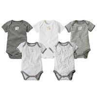 Burt's Bees Baby Neutral 5 Pack Grey Assorted Organic Short Sleeve Bodysuits.