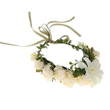 ULTNICE Flower Garland Headband Crown Hair Wreath for Wedding Party With Adjustable Ribbon for Wedding Festivals (Beige)