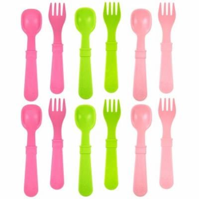 Re-Play Made in USA 12pk Utensils for Easy Baby, Toddler, Child Feeding - Bright Pink, Green, Blush (Tulip) - 6 Spoons/6 Forks)
