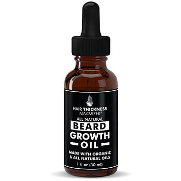 Best Organic Beard Oil For Men by Hair Thickness Maximizer. For Men's Natural Beard Growth + Grooming. Also Great As Mustache Oil. Oils - Argan, Jojoba, Moringa, and more! For that Fresh, Honest Look