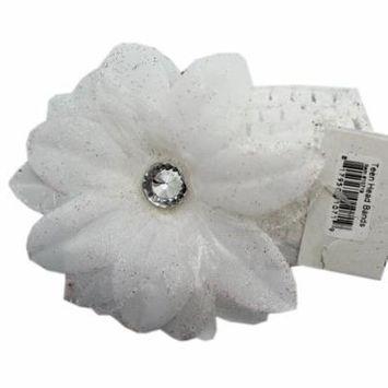 White Flower Headband With Plastic Diamond