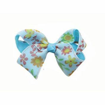 Blue Flower Bow Barrette Hair Clip - Colorful Ribbon Bow Alligator Clip