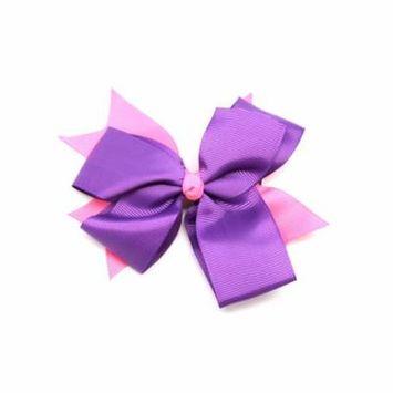 Purple Pink Bow Barrette Hair Clip - Colorful Ribbon Bow Alligator Clip