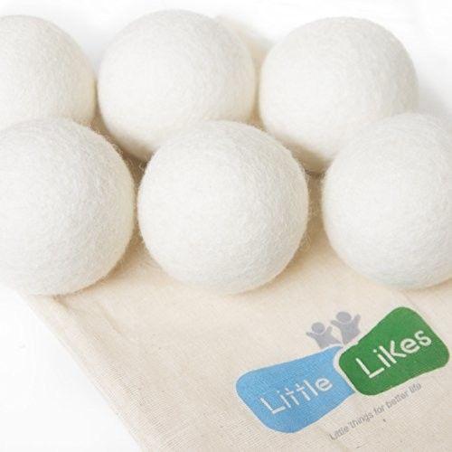 Little Likes Dryer Balls, Pack of 6 Dryer Balls, 100% Organic, Reusable, Reduce Wrinkles, Saves Drying Time & Chemical Free, Handmade Dryer Balls