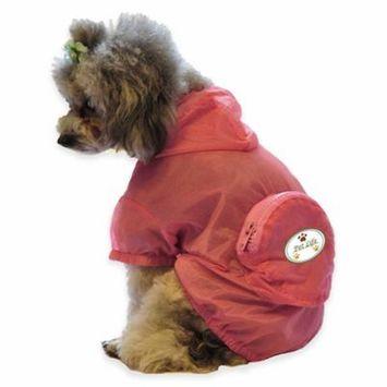 Pet Lift Pet Life The Ultimate Waterproof Thunder-Paw Adjustable Zippered Folding Travel Dog Raincoat - Pink - Medium