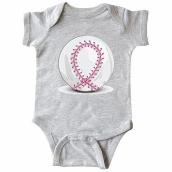 Pink Breast Cancer Ribbon Baseba Infant Creeper