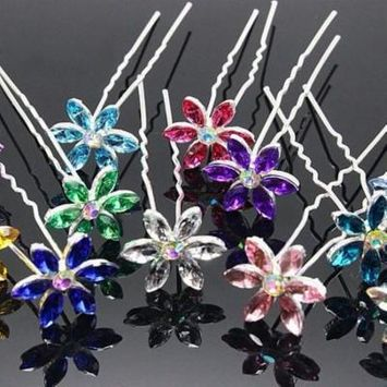 Fun Flowers Crystal and Rhinestone Silver Plated Hair Pins Blue / 3