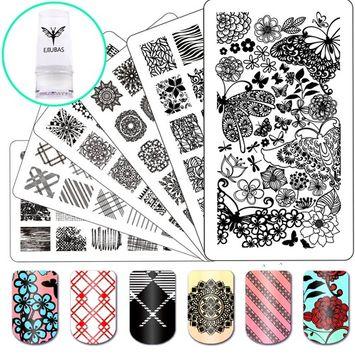 Nail Stamping Plate Nail Stamper - Ejiubas Nail Art Stamp 3 Pcs Nail Stamper Plates 1 Clear Nail Art Stamper DIY Nail Stamp Kit EJB-01&06&08