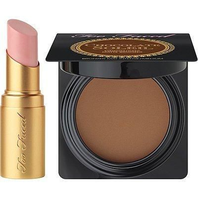 Too Faced Kiss & Makeup Travel Set - Deluxe Chocolate Bronzer & Deluxe Lipstick