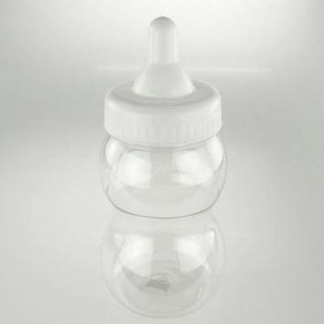 Large Plastic Baby Milk Bottle Coin Bank, 13-inch, White