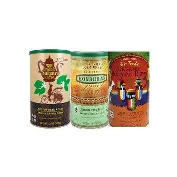 Trader Joe's Fair Trade Organic Coffee Bundle - 3 Cans of Whole Beans 14 Oz Each: Bolivian, Honduran, Sumatra