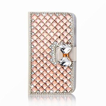 Samsung Galaxy A6 Plus 2018 Case, Scheam Leather Case 3D Diamond Bling Shining Case Wallet Case Credit Card Slot Kicktand Flip Cover Shockproof Protective Case for Galaxy A6 Plus 2018 (Champagne)