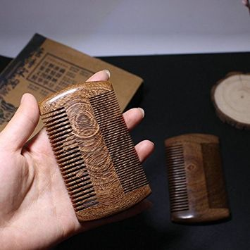Anti-Static Sandalwood Beard/Hair Comb Handmade Natural Wood Pocket Comb with 2-Sided