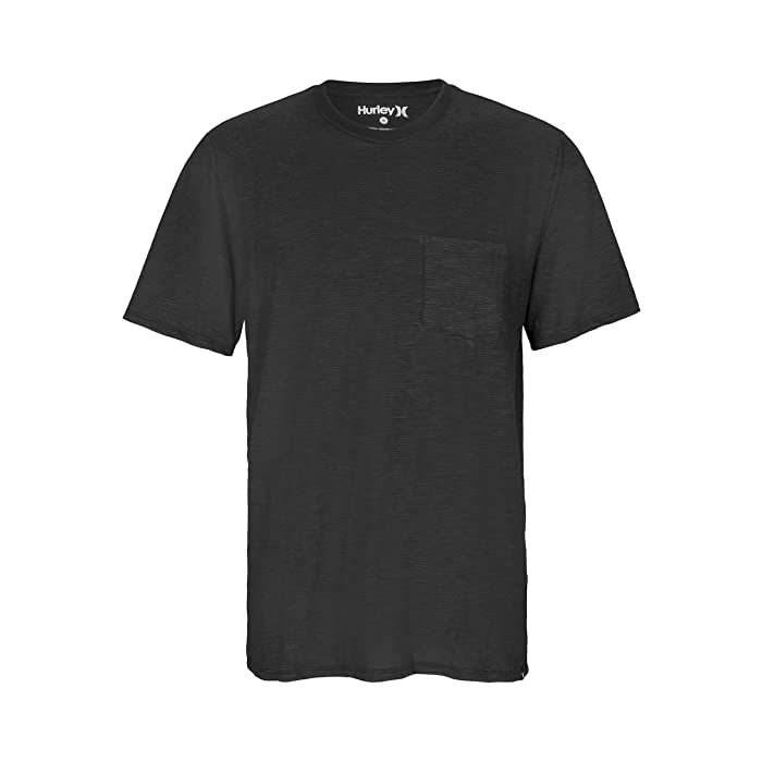Hurley Micro Stripe Pocket Short Sleeve (Black/Dark Smoke Grey) Men's Clothing