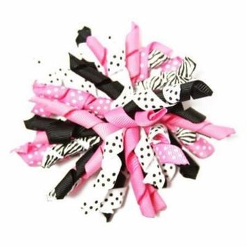 Wholeale Princses Dazzling Zebra Curly Ribbon Korker Hair Clip