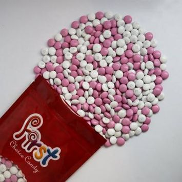 m&m Light Pink & White Milk Chocolate Candy 2 Pound Resealable Pouch Bag