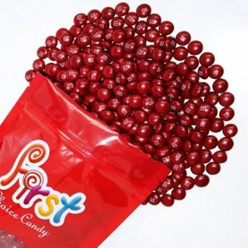 m&m Maroon Milk Chocolate Candy 1 Pound Resealable Pouch Bag
