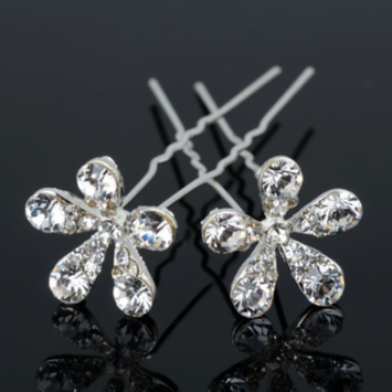 Small Crystal Encrusted Flower Silver Plated Hair Pins 3 / Silver