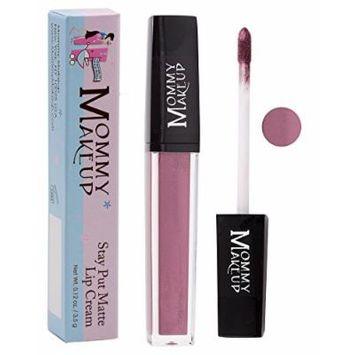 Stay Put Matte Lip Cream | Kiss-Proof Matte Lipstick - Paraben Free - Roxie, a plum with shimmer