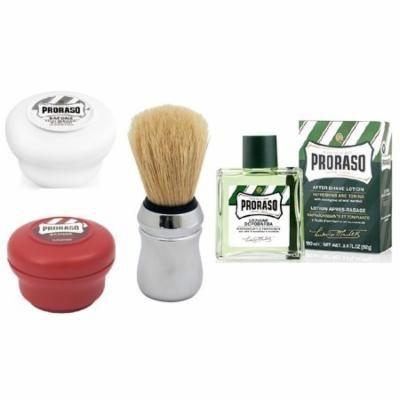 Proraso Shave Soap, Sensitive 150 ml + Proraso Shave Soap, Sandalwood 150 ml + Proraso Professonal Shaving Brush + Proraso Aftershave Lotion, Refresh, 100 ml